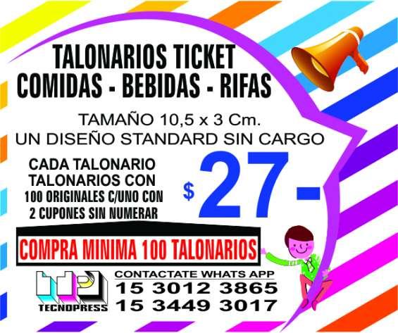 Ticket talonarios 3x11 cm. para bebidas, comidas, entradas, sorteo, guardarropa, etc.