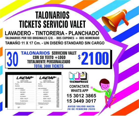 Talonarios para lavanderias servicio valet de 2 ticket numerados tamaño 11 x 17 cm.