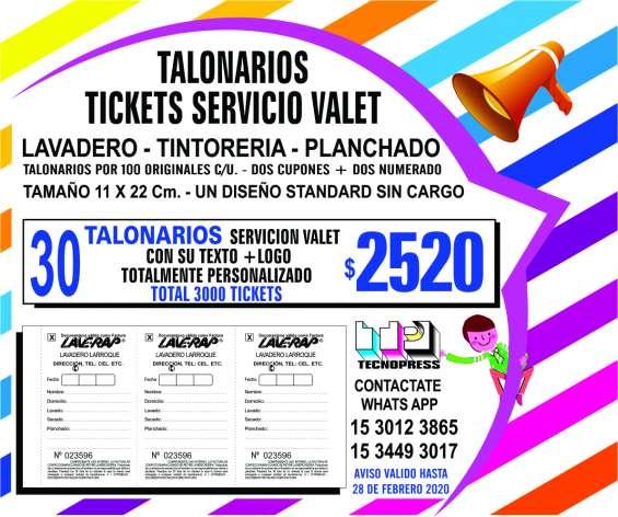 Talonarios para lavanderias servicio valet de 3 ticket numerados tamaño 11 x 22 cm